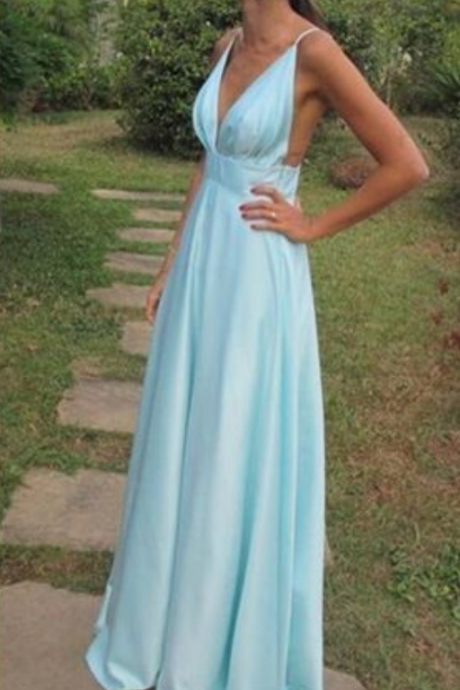Custom Made Beautiful Sexy Beautiful Blue Straps A-line Prom Dresses, Evening Gowns, Formal Party Dresses