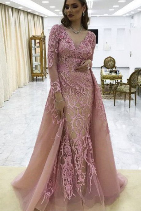 Beautiful Chic Pink Prom Dress Long Sleeves Applique Prom Dresses Evening Dress