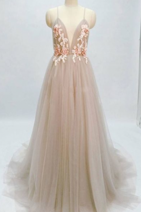 Beautiful Charming Champagne Long Prom Dresses Spaghetti Straps Appliques Evening Dresses