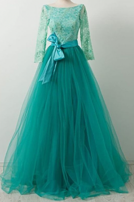 Pretty Green Tulle Lace Long Sleeves Tulle Bow A Line Formal Prom Dress For Teen