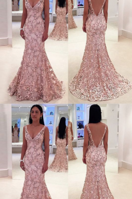 Charming Sexy Mermaid Deep V-Neck Sweep Train Pink Lace Backless Sleeveless Prom Dress