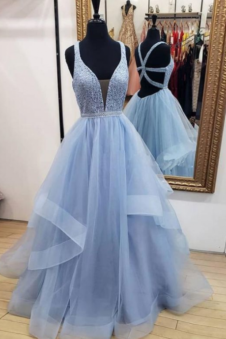 Blue v neck tulle long prom dress, custom made charming blue tulle evening dress