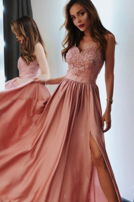Charming pretty pink chiffon long prom dresses,simple a line party dresses with splits