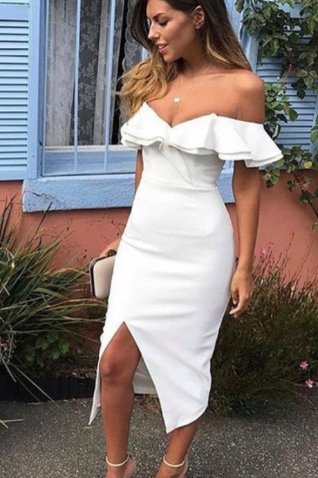 2019 Off The Shoulder White Homecoming Prom Dresses,Simple Dresses with slit