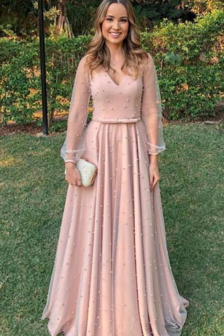 Elegant blush, long sleeves v-neck prom dresses, fashion formal evening gowns with pearls