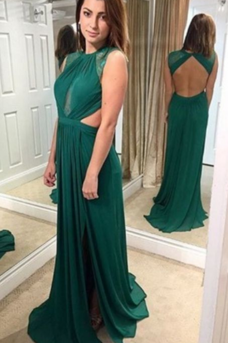 Chiffon Evening Dress,Backless Evening Dress,Long Prom Dress,Formal Dress