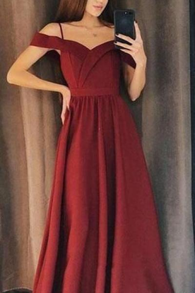 Simple Beautiful A Line Side Slit Spaghetti Straps Simple Long Evening Prom Dresses