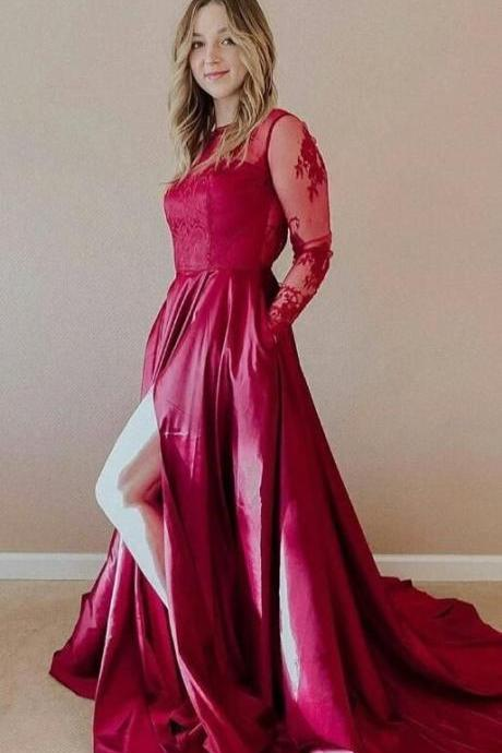 Charming A Line Long Sleeves Fuchsia Long Prom Dress With Slit