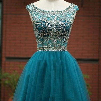 Rhinestone Homecoming Dresses,Tulle Homecoming Dresses, Charming Homecoming Dresses, Homecoming