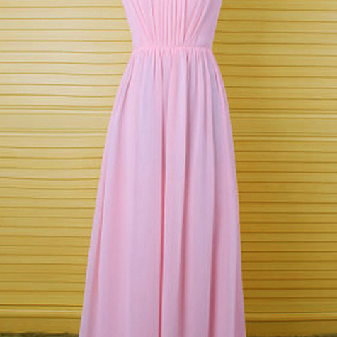 Sweet Pearl Pink Bridesmaid Dresses with a Keyhole Back, Long Bridesmaid Dress with Pleats, Scoop Neck Chiffon Column Bridesmaid Dress