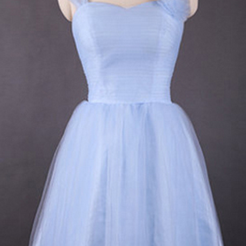 Vintage Light Sky Blue Bridesmaid Dresses, Sweetheart Bridesmaid Dress with Tulle Straps and Flowers, Retro Knee-length Bridesmaid Dresses