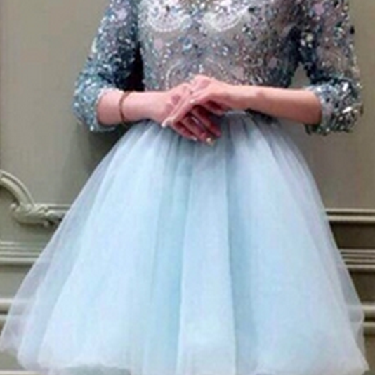 Charming Prom Dresses,Sexy Light Blue Tulle Prom Gown,Beading Prom Dress