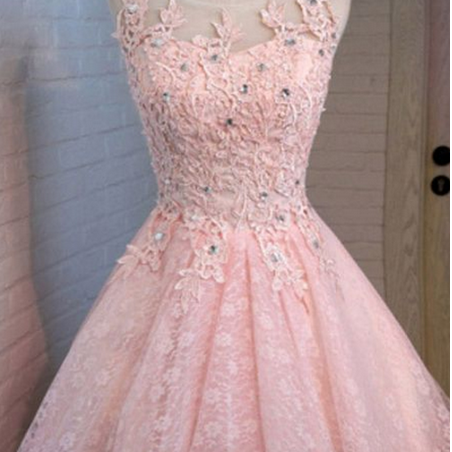 A-Line Round Neck Lace Beaded Homecoming Dress Cocktail Dress