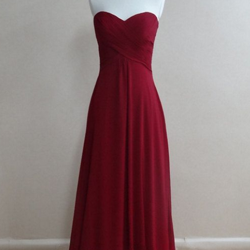 Bridesmaid Gown,Pretty Burgundy Prom Dresses,Chiffon Prom Gown, Simple Bridesmaid Dress,