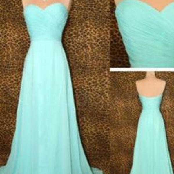 Bridesmaid Gown,Pretty Blue Prom Dresses,Chiffon Prom Gown, Simple Bridesmaid Dress