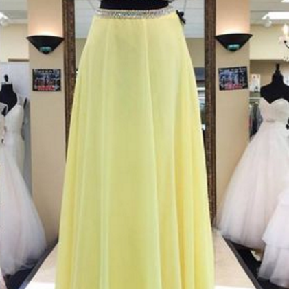 A light yellow two-piece chiffon gown, evening dress.