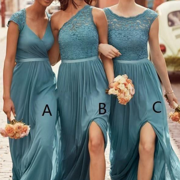 New Mixed Teal Bridesmaid Dresses Bateau Lace Top A Line Split Long Chiffon Beach Country Maid Of Honor Gowns Cheap Customized