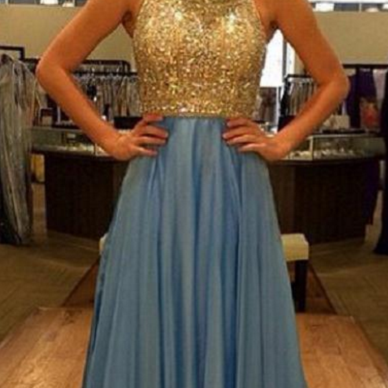 Sexy Backless Important Party Dresses ,Beading Prom Dresses,A-Line Chiffon Long Prom Dress