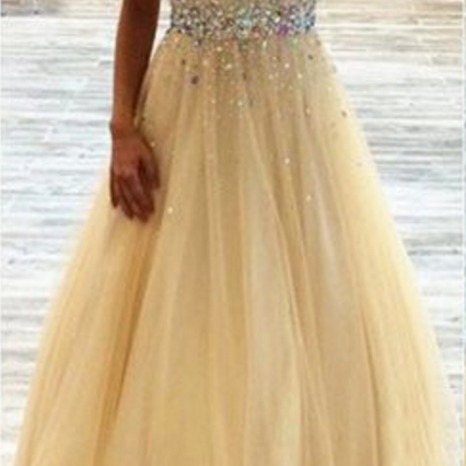 High Quality Beading Tulle Prom Dresses,Custom Made Evening Dresses, A-Line Prom Dresses