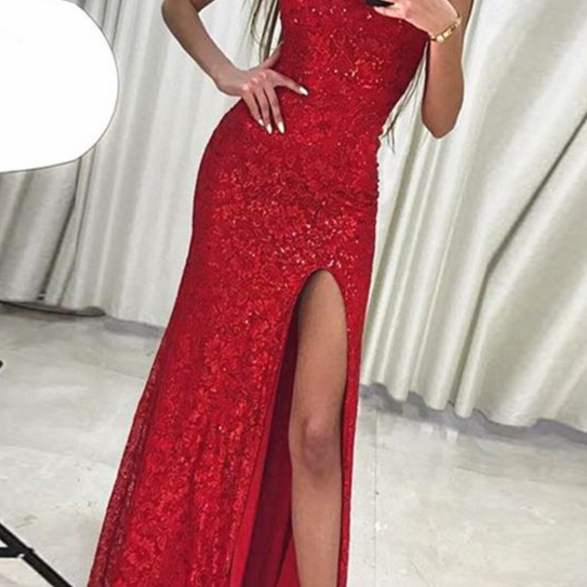 Mermaid Prom Dresses,Lace Prom Dress,Evening Gowns,Formal Dress,Red Party Dress,Banquet Dress